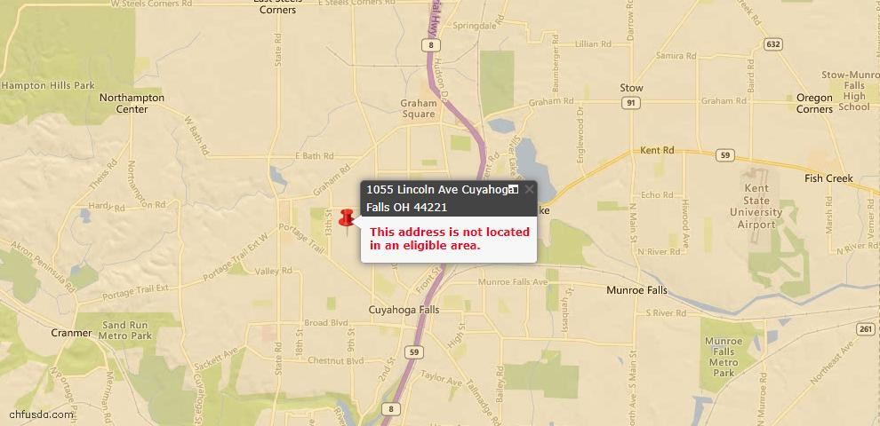 USDA Loan Eligiblity Map - 1055 Lincoln Ave, Cuyahoga Falls, OH 44221