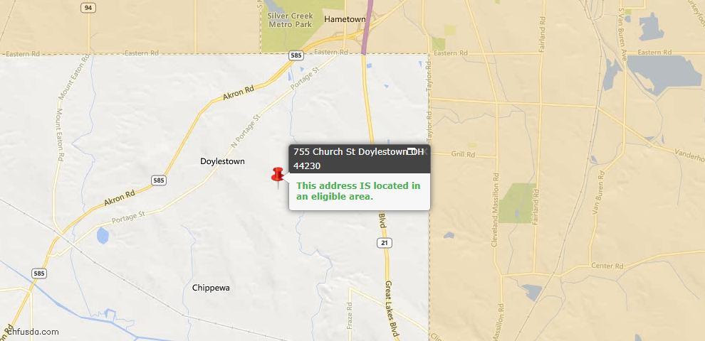 USDA Loan Eligiblity Maps From - Doylestown, OH