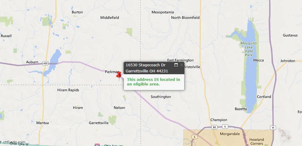 USDA Loan Eligiblity Map - 16530 Stagecoach Dr, Garrettsville, OH 44231