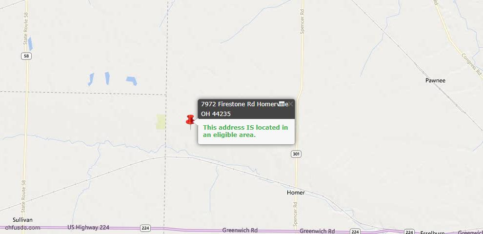 USDA Loan Eligiblity Maps From - Homerville, OH