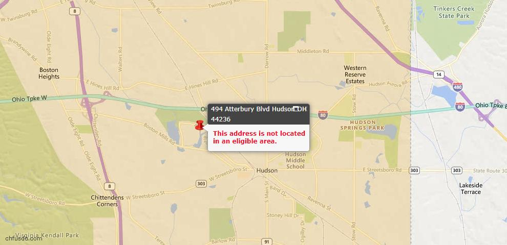 USDA Loan Eligiblity Maps From - Hudson, OH