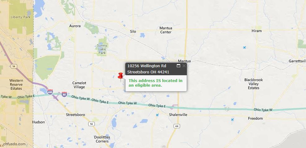 USDA Loan Eligiblity Map - 10256 Wellington Rd, Streetsboro, OH 44241