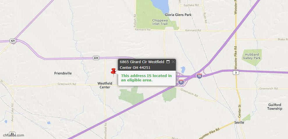 USDA Loan Eligiblity Maps From - Westfield Center, OH