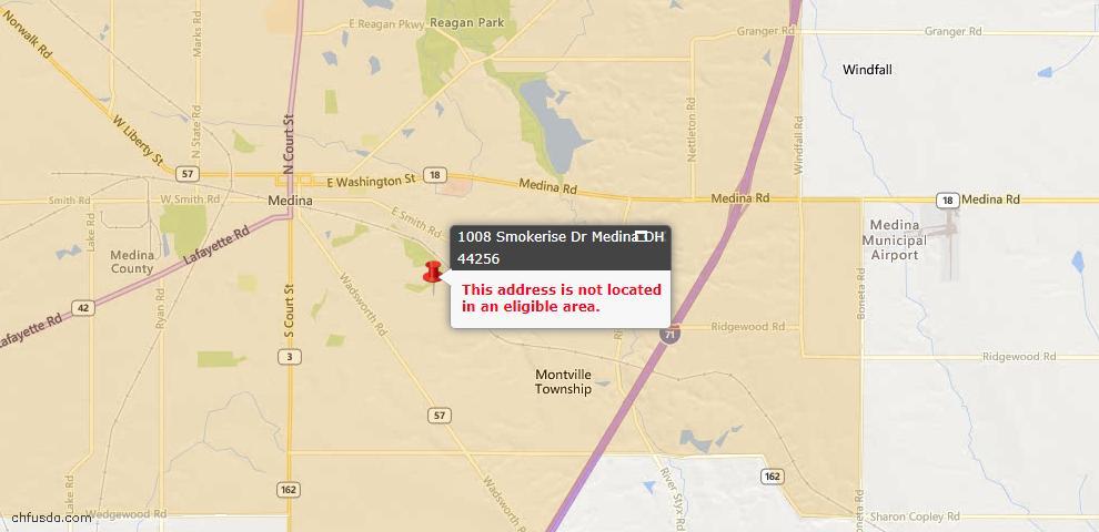 USDA Loan Eligiblity Map - 1008 Smokerise Dr, Medina, OH 44256
