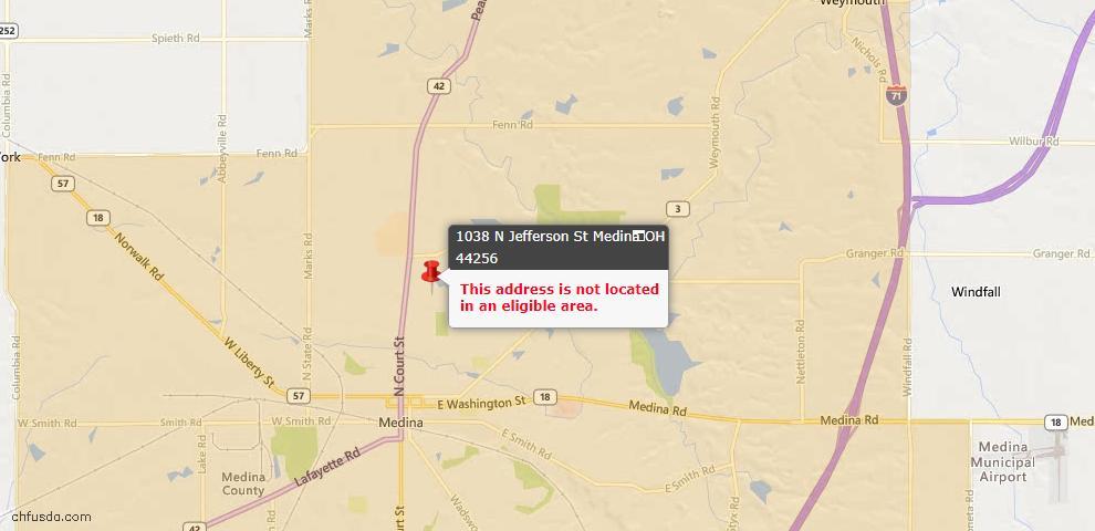USDA Loan Eligiblity Map - 1038 N Jefferson St Unit U-9, Medina, OH 44256