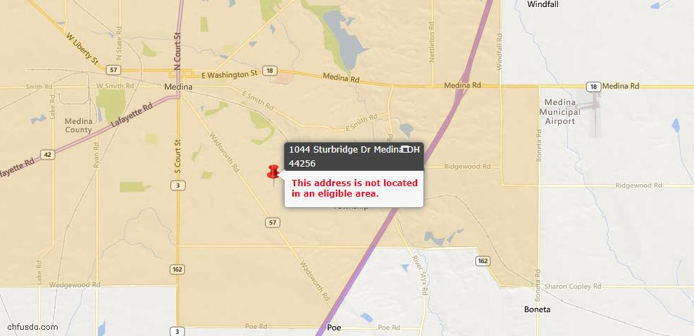 USDA Loan Eligiblity Map - 1044 Sturbridge Dr, Medina, OH 44256