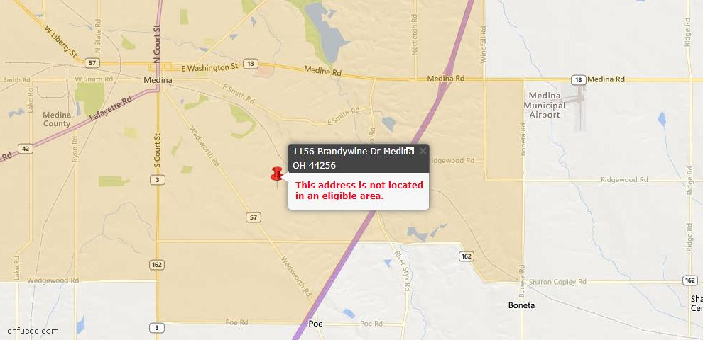 USDA Loan Eligiblity Map - 1156 Brandywine Dr, Medina, OH 44256