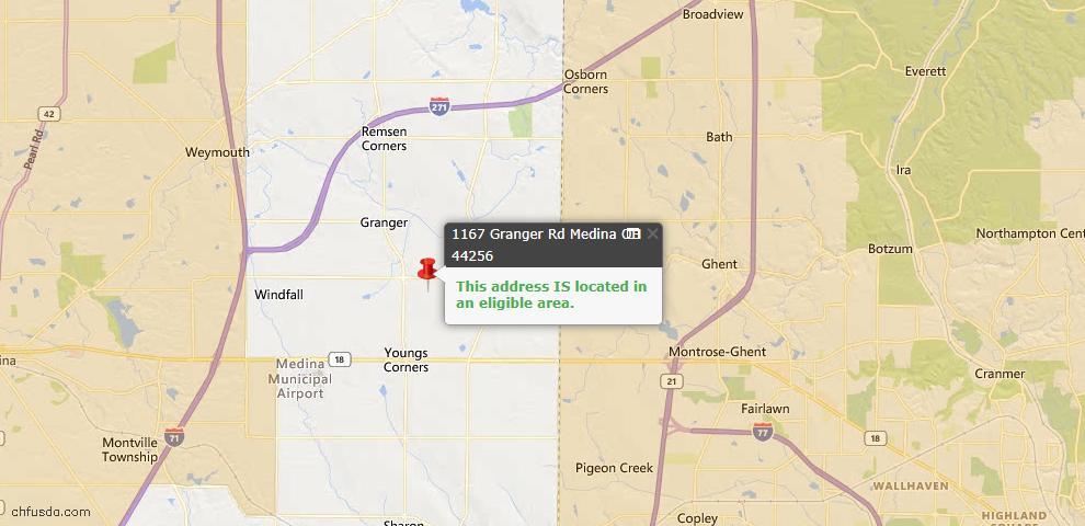 USDA Loan Eligiblity Map - 1167 Granger Rd, Medina, OH 44256