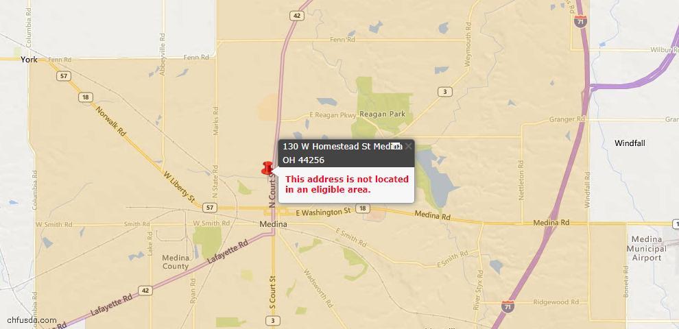 USDA Loan Eligiblity Map - 130 W Homestead St, Medina, OH 44256