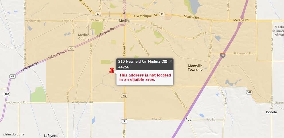 USDA Loan Eligiblity Map - 210 Newfield Cir, Medina, OH 44256
