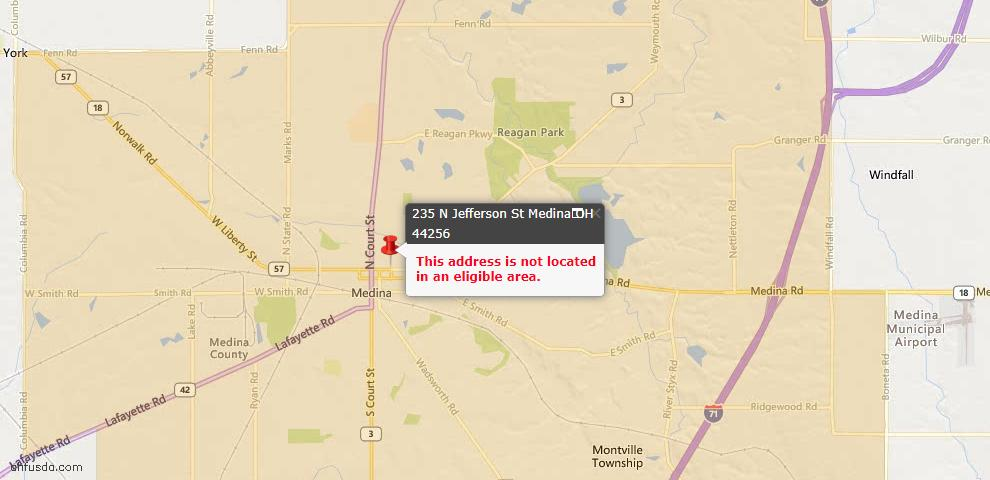 USDA Loan Eligiblity Map - 235 N Jefferson St, Medina, OH 44256