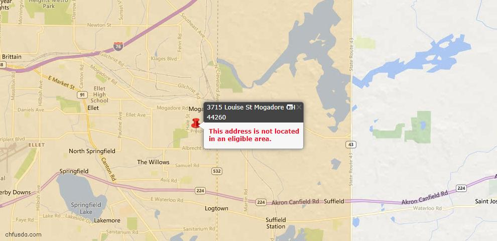 USDA Loan Eligiblity Maps From - Mogadore, OH