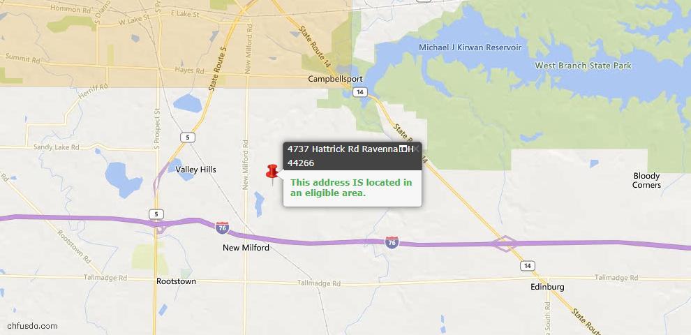 USDA Loan Eligiblity Maps From - Ravenna, OH