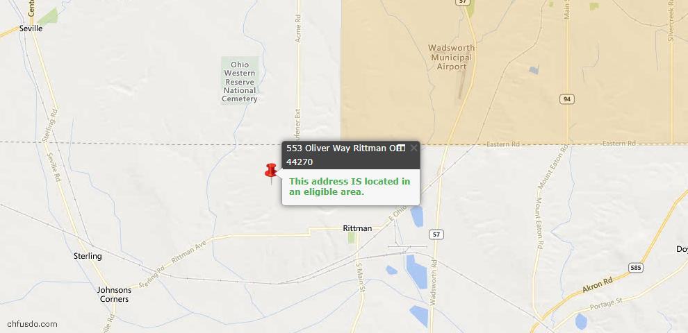 USDA Loan Eligiblity Maps From - Rittman, OH
