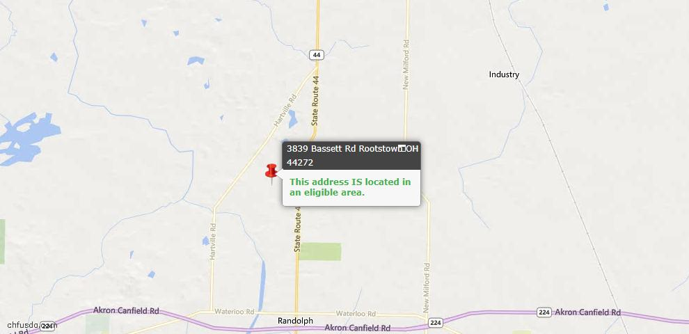 USDA Loan Eligiblity Maps From - Rootstown, OH
