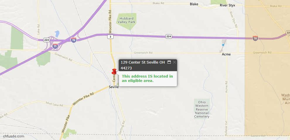 USDA Loan Eligiblity Maps From - Seville, OH