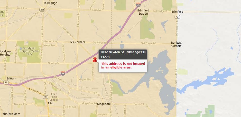 USDA Loan Eligiblity Map - 1042 Newton St, Tallmadge, OH 44278