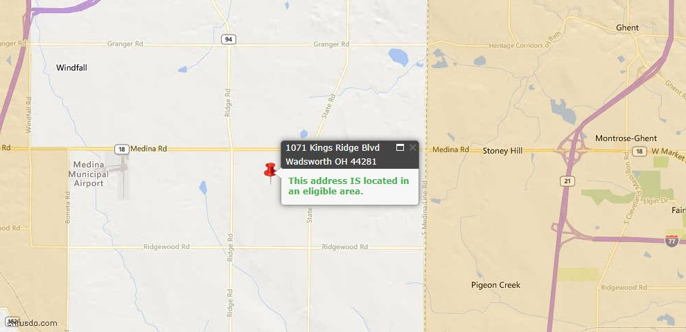 USDA Loan Eligiblity Map - 1071 Kings Ridge Blvd, Wadsworth, OH 44281