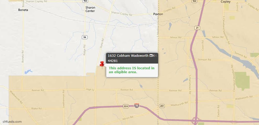 USDA Loan Eligiblity Map - 1632 Cobham Ln, Wadsworth, OH 44281