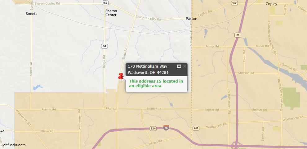 USDA Loan Eligiblity Map - 170 Nottingham Way, Wadsworth, OH 44281