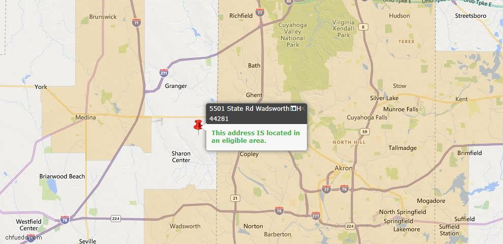 USDA Loan Eligiblity Map - 5501 State Road Rd, Wadsworth, OH 44281