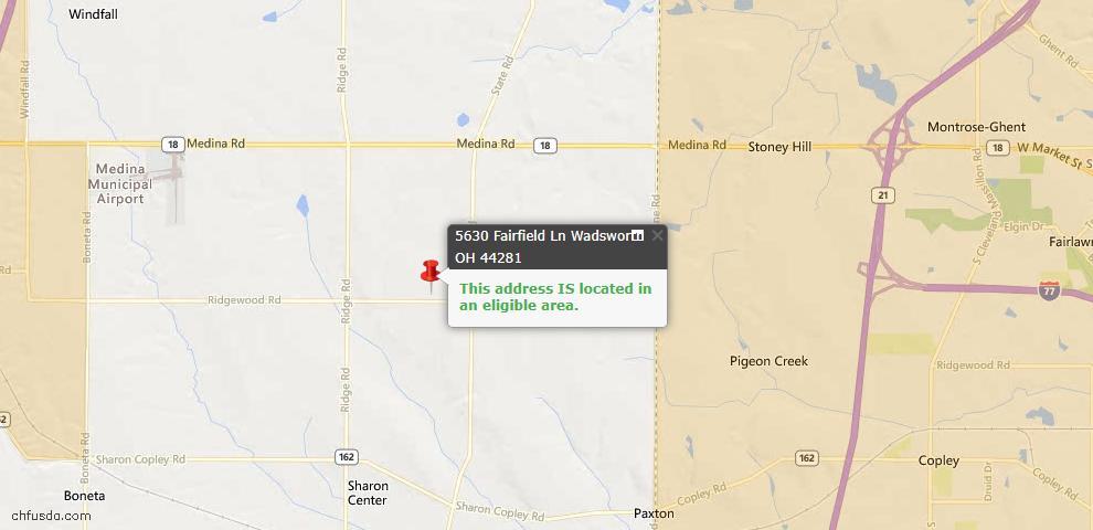 USDA Loan Eligiblity Map - 5630 Fairfield Ln, Wadsworth, OH 44281
