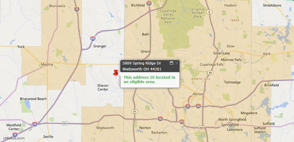 USDA Loan Eligiblity Map - 5809 Spring Ridge Dr, Wadsworth, OH 44281