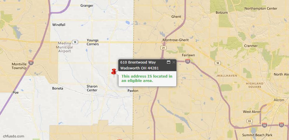 USDA Loan Eligiblity Map - 610 Brentwood Way, Wadsworth, OH 44281