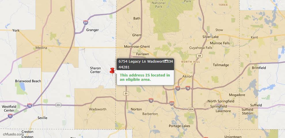 USDA Loan Eligiblity Map - 6754 Legacy Ln, Wadsworth, OH 44281
