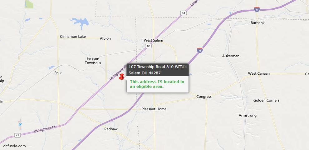 USDA Loan Eligiblity Map - 107 Township Rd 810 #26, West Salem, OH 44287