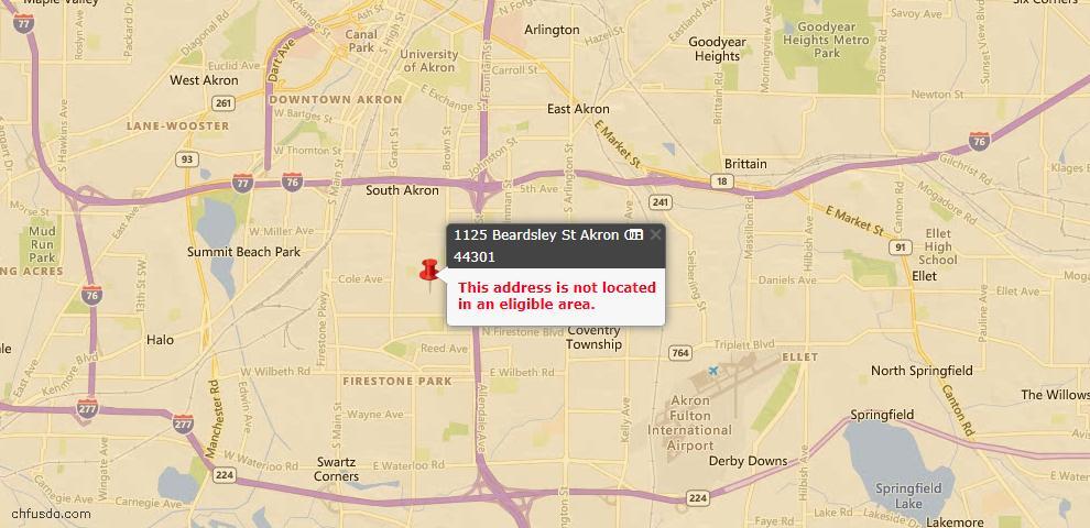 USDA Loan Eligiblity Map - 1125 Beardsley St, Akron, OH 44301
