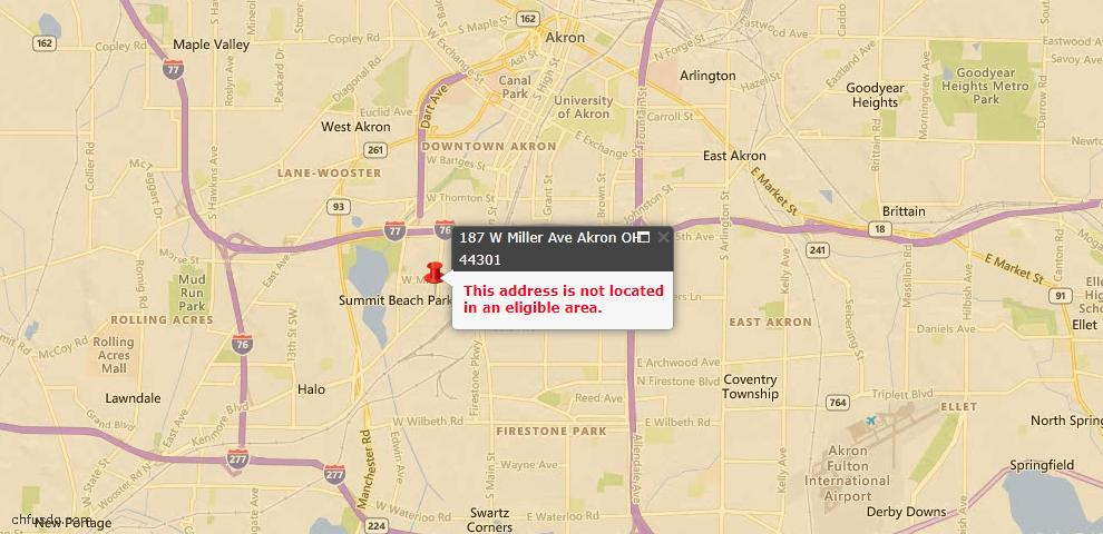 USDA Loan Eligiblity Map - 187 Miller Ave W, Akron, OH 44301