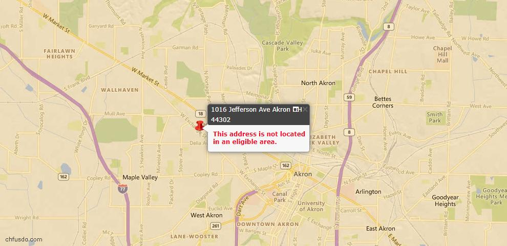 USDA Loan Eligiblity Map - 1016 Jefferson Ave, Akron, OH 44302