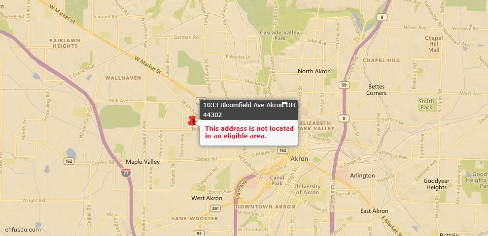 USDA Loan Eligiblity Map - 1033 Bloomfield Ave, Akron, OH 44302