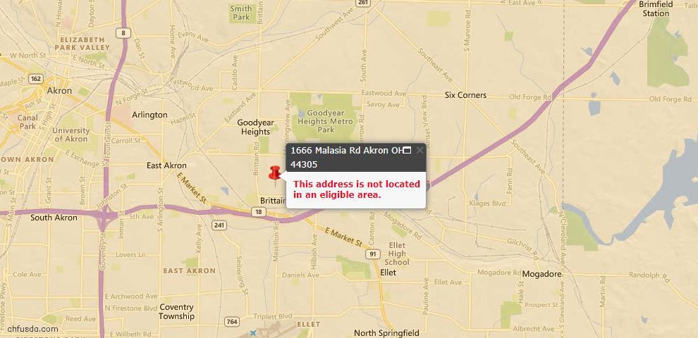 USDA Loan Eligiblity Map - 1666 Malasia Rd, Akron, OH 44305