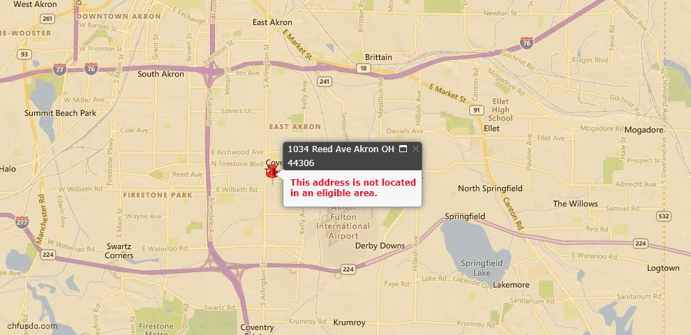 USDA Loan Eligiblity Map - 1034 Reed Ave, Akron, OH 44306
