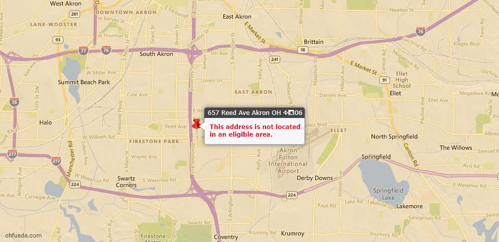 USDA Loan Eligiblity Maps From - 44306, OH