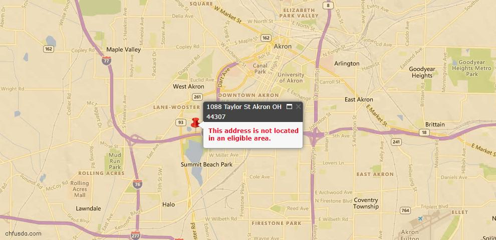 USDA Loan Eligiblity Map - 1088 Taylor St, Akron, OH 44307