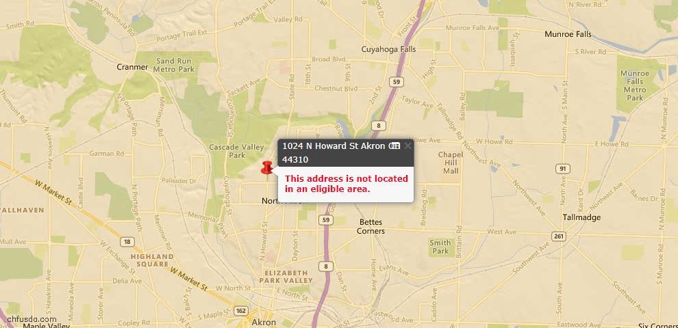 USDA Loan Eligiblity Map - 1024 N Howard St, Akron, OH 44310