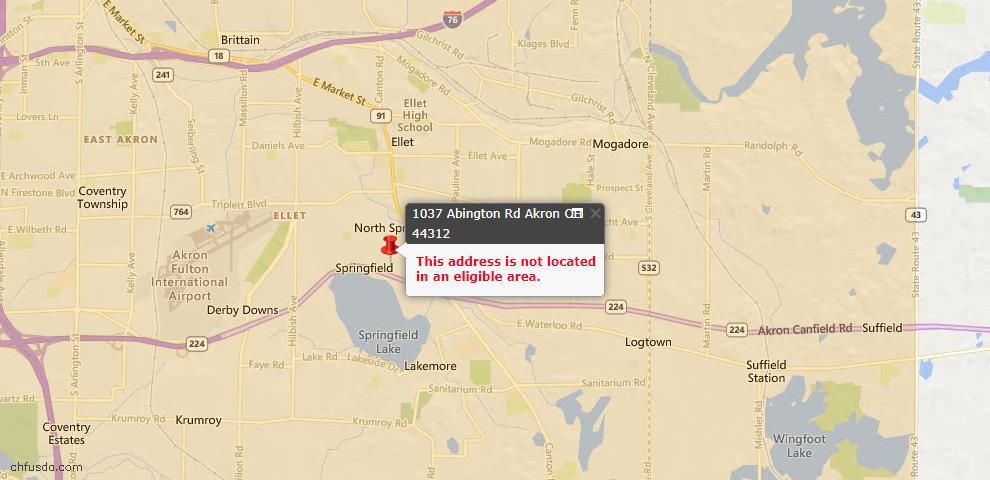 USDA Loan Eligiblity Map - 1037 Abington Rd, Akron, OH 44312
