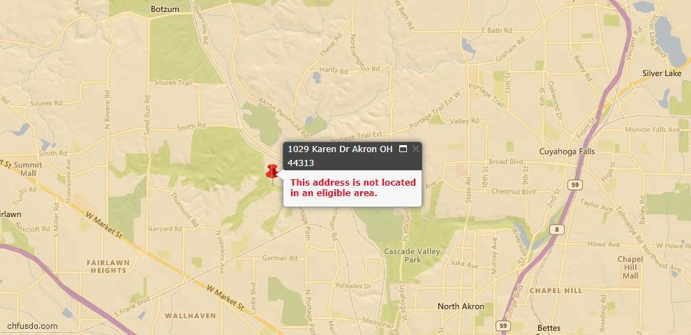USDA Loan Eligiblity Map - 1029 Karen Dr, Akron, OH 44313