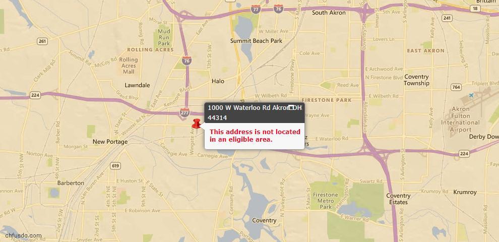 USDA Loan Eligiblity Map - 1000 W Waterloo Rd, Akron, OH 44314