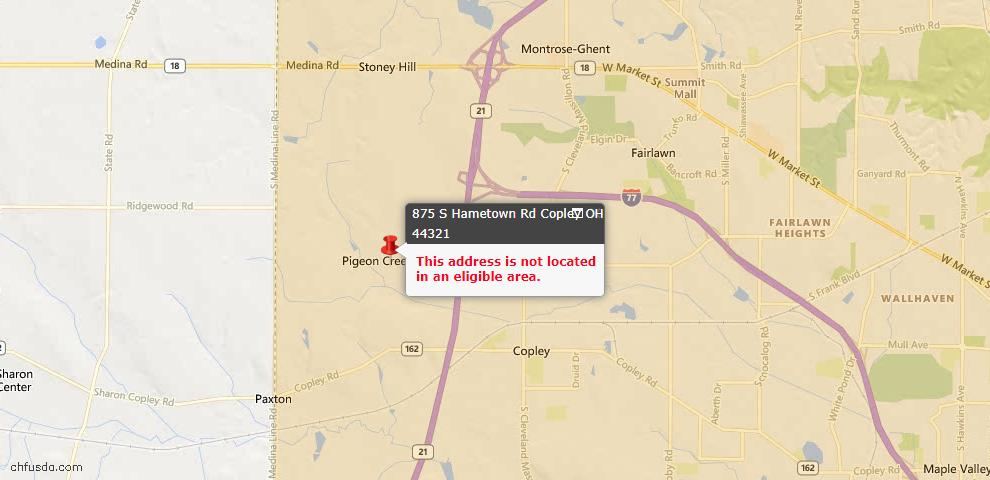 USDA Loan Eligiblity Maps From - Copley, OH