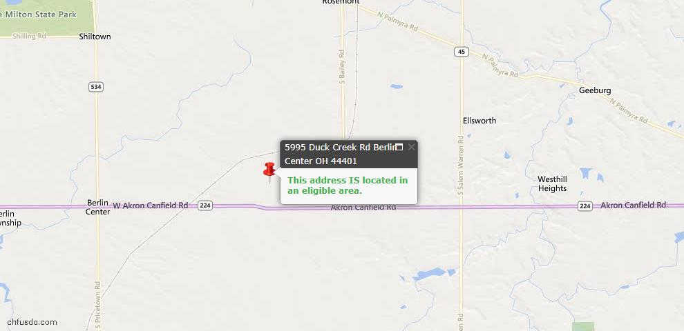 USDA Loan Eligiblity Maps From - Berlin Center, OH