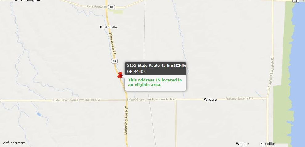 USDA Loan Eligiblity Maps From - Bristolville, OH