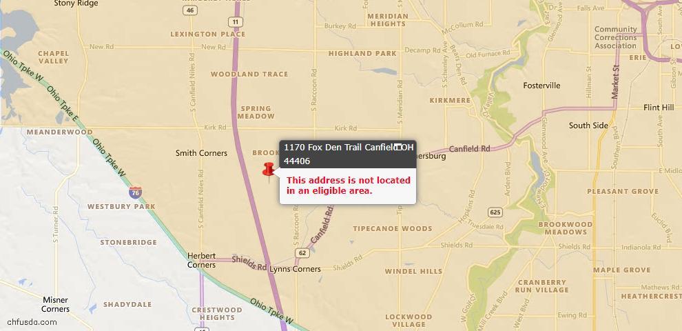 USDA Loan Eligiblity Map - 1170 Fox Den Trl, Canfield, OH 44406