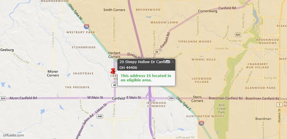 USDA Loan Eligiblity Maps From - Mahoning County, OH
