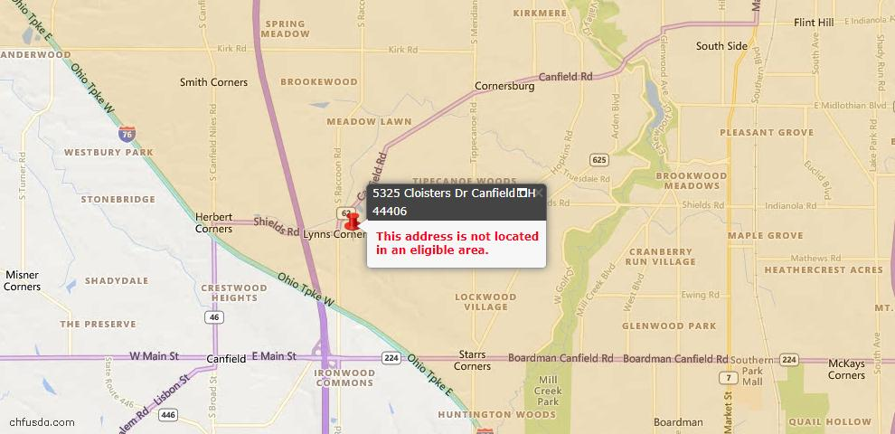 USDA Loan Eligiblity Maps From - Canfield, OH
