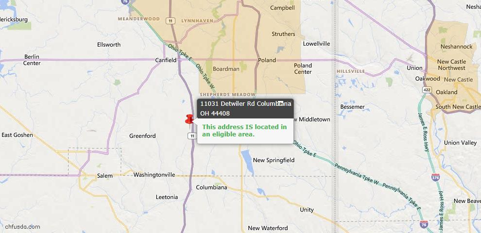 USDA Loan Eligiblity Map - 11031 Detwiler Rd, Columbiana, OH 44408