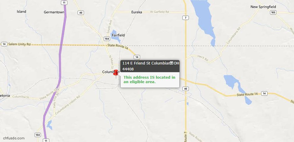 USDA Loan Eligiblity Map - 114 E Friend St, Columbiana, OH 44408